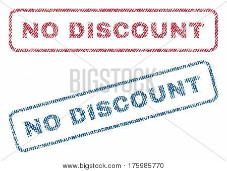 No Discount text textile seal stamp watermarks. Blue red fabric vectorized texture. Vector caption inside rounded rectangular banner. Rubber emblem with fiber textile structure.