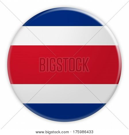 Costa Rica Flag Button News Concept Badge 3d illustration on white background