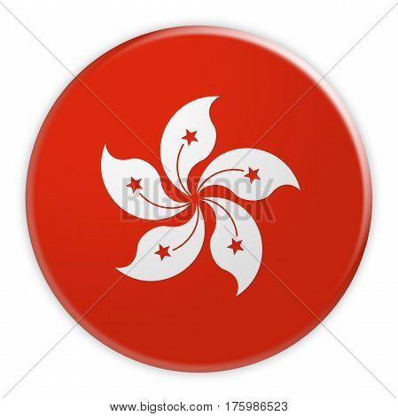 Hong Kong Flag Button News Concept Badge 3d illustration on white background