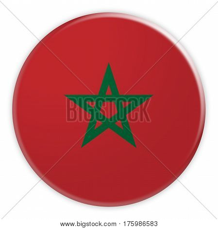 Morocco Flag Button News Concept Badge 3d illustration on white background