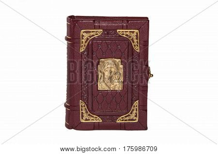 Souvenir book in leather cover isolated on a white background