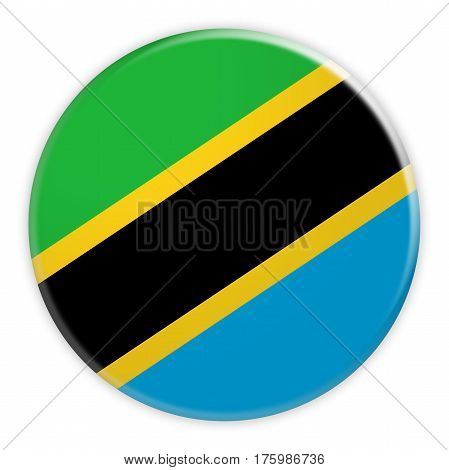 Tanzania Flag Button News Concept Badge 3d illustration on white background