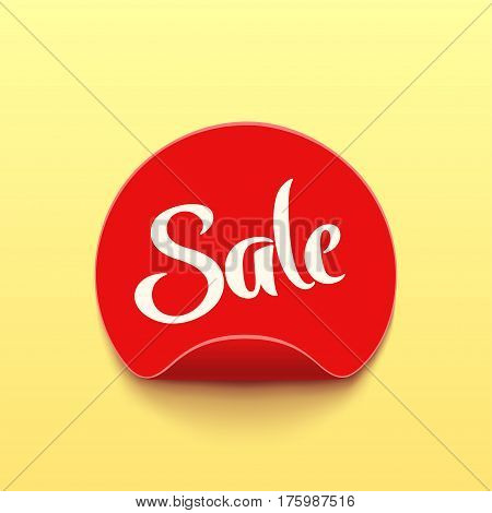 illustration of red circle sticker with shadow on bright background