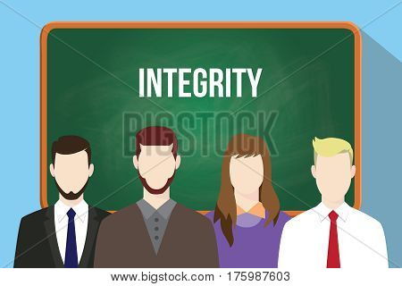 integrity white text on green chalkboard illustration with four people standing in front of the chalkboard vector
