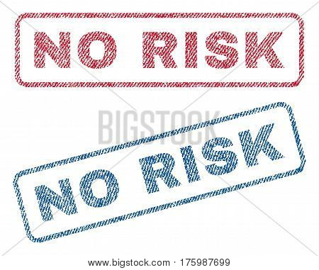 No Risk text textile seal stamp watermarks. Blue, red fabric vectorized texture. Vector caption inside rounded rectangular shape. Rubber sticker with fiber textile structure.