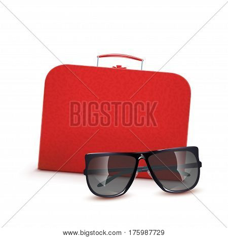 illustration of leather red suitcase with black sunglasses on white background