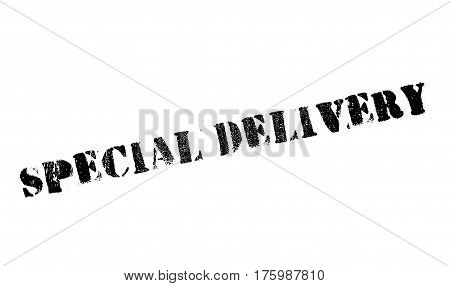 Special delivery stamp. Grunge design with dust scratches. Effects can be easily removed for a clean, crisp look. Color is easily changed.