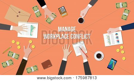 manage workplace conflict in a meeting illustration with money, paperworks and coins on top of table vector