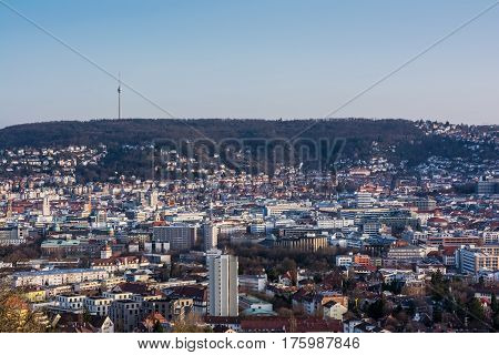 Stuttgart Cityscape Landscape Capital City Baden Wuerttemberg Day Night Sky Buildings Far Tv Tower H