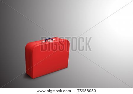 illustration of old red leather suitcase standing on grey background