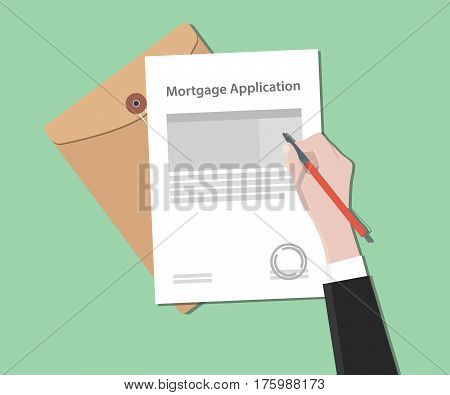 Mortgage application letter illustration with stamped document and folder document vector