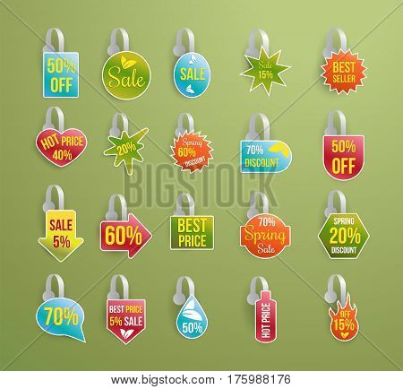 Shelf wobbler discount labels mockup set with strip isolated on green background, sale and best seller tags for product sale in shop, best price, special offer, realistic design, vector illustration
