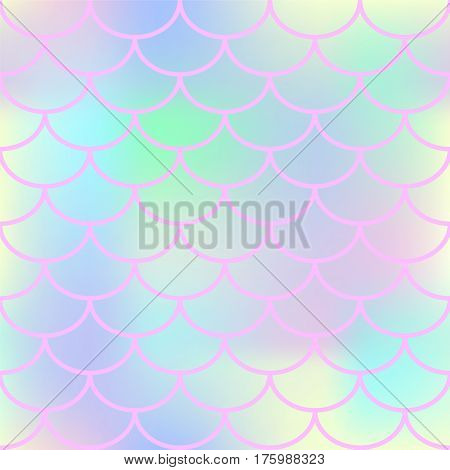 Pink fish scale vector seamless pattern. Square fishscale swatch texture or background. Marshmallow colors gradient mesh. Mermaid pattern or decor element. Fish skin or Mermaid tail texture