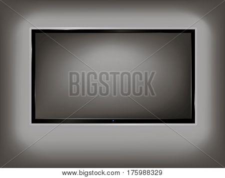 TV, modern empty LCD screen, LED, plasma. Vector illustration.