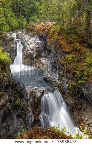 Upper Falls at Little Qualicum Falls near Qualicum Beach and Parksville on Vancouver Island British Columbia Canada.