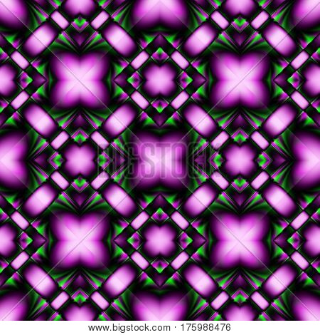 Complex fractal seamless pattern of diamonds with purple-green crystal patterns with brilliance and refraction of light