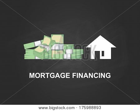 Mortgage financing white text illustration with a white house silhouette, heap of money and black background vector