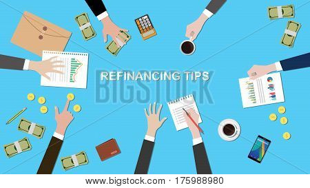 illustration of Refinancing tips discussion situation in a meeting with paperworks, money and coins on top of table vector