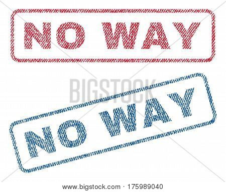 No Way text textile seal stamp watermarks. Blue, red fabric vectorized texture. Vector tag inside rounded rectangular banner. Rubber sticker with fiber textile structure.
