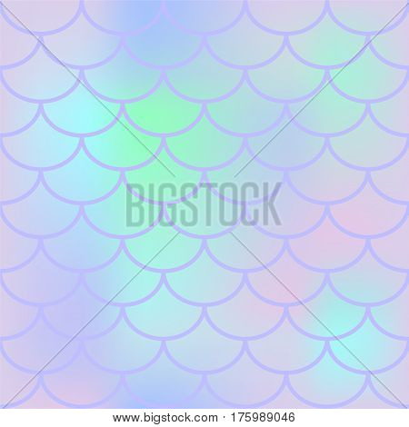 Lily fish scale vector seamless pattern. Square fishscale swatch texture or background. Pale yellow pink gradient mesh. Mermaid pattern or decor element. Fish skin or Mermaid tail texture