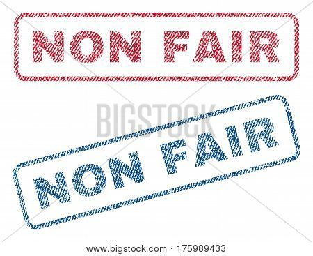 Non Fair text textile seal stamp watermarks. Blue, red fabric vectorized texture. Vector tag inside rounded rectangular shape. Rubber sticker with fiber textile structure.