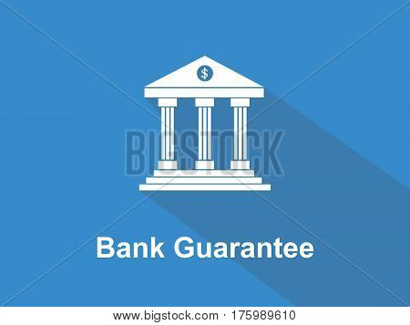 bank guarantee white text with bank office building illustration and blue background vector