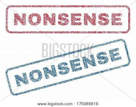 Nonsense text textile seal stamp watermarks. Blue, red fabric vectorized texture. Vector caption inside rounded rectangular banner. Rubber emblem with fiber textile structure.