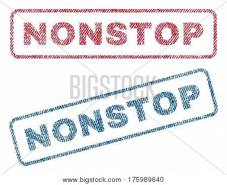 Nonstop text textile seal stamp watermarks. Blue, red fabric vectorized texture. Vector caption inside rounded rectangular banner. Rubber emblem with fiber textile structure.