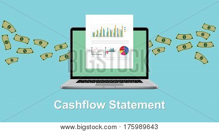 cashflow statement illustration with laptop and money and paperwork graph and chart flowing vector