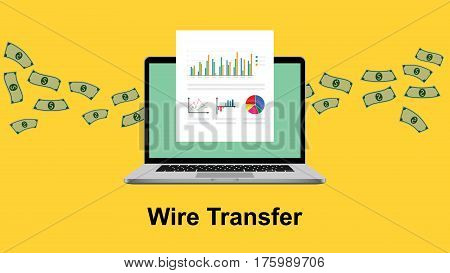 wire transfer illustration with paperwork in front of laptop screen and flying money as background vector