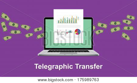 telegraphic transfer illustration with paperwork in front of laptop screen and flying money as background vector