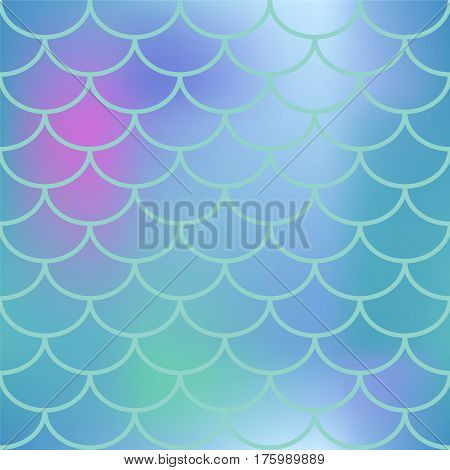 Blue fish scale seamless pattern. Square vector background with fish scale ornament. Pink and blue abstract gradient mesh. Mermaid pattern or decor element. Fish skin or Mermaid tail texture