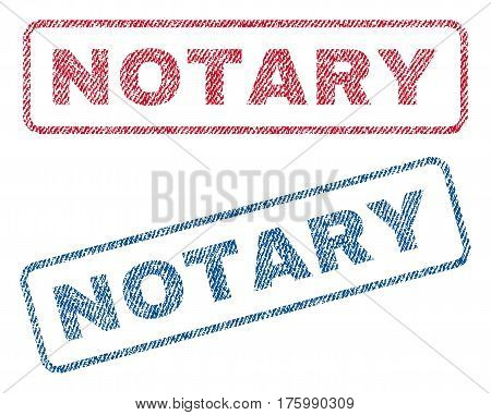 Notary text textile seal stamp watermarks. Blue, red fabric vectorized texture. Vector caption inside rounded rectangular shape. Rubber sticker with fiber textile structure.