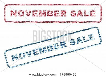 November Sale text textile seal stamp watermarks. Blue, red fabric vectorized texture. Vector caption inside rounded rectangular banner. Rubber sticker with fiber textile structure.