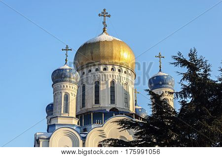 Cupola of the Holy Cross Orthodox cathedral (Cathedral of Christ the Savior) in Uzhgorod Ukraine