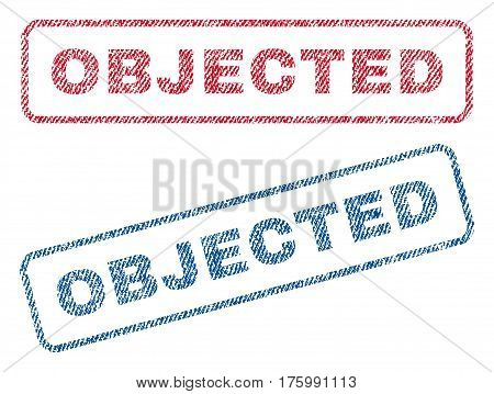 Objected text textile seal stamp watermarks. Blue, red fabric vectorized texture. Vector caption inside rounded rectangular shape. Rubber sign with fiber textile structure.