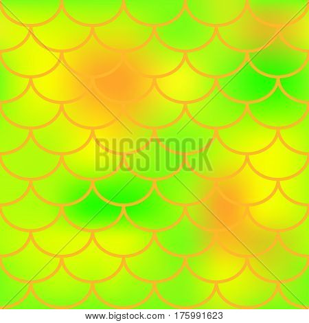 Orange green fish skin vector pattern for background. Bright fish scale seamless pattern. Gradient mesh background with fishscale ornament. Vibrant yellow green color mix. Golden fish tail ornament