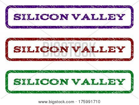 Silicon Valley watermark stamp. Text tag inside rounded rectangle frame with grunge design style. Vector variants are indigo blue, red, green ink colors. Rubber seal stamp with dirty texture.