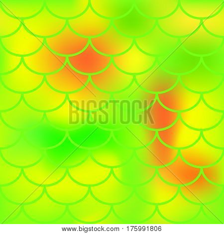 Yellow red green fish skin vector pattern for background. Bright fish scale seamless pattern. Gradient mesh background with fishscale ornament. Juicy citrus summer color mix. Golden fish tail ornament