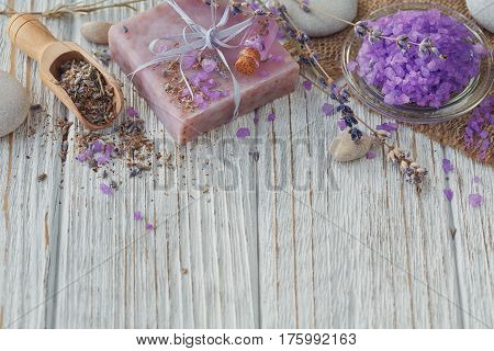 Natural handmade soaps with sea salt sea star and dried lavender flowers. Bodycare and spa concept.