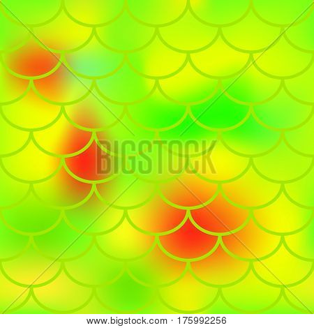 Yellow green fish skin vector pattern for background. Bright fish scale seamless pattern. Gradient mesh background with fishscale ornament. Vibrant yellow green color mix. Golden fish tail ornament