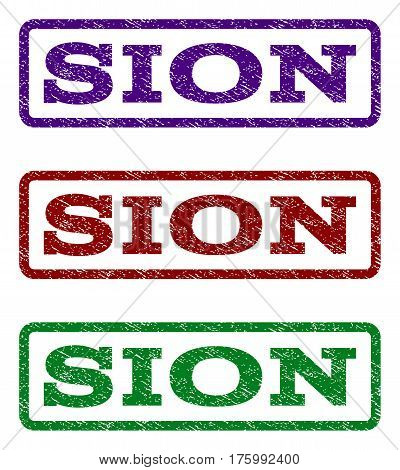 Sion watermark stamp. Text tag inside rounded rectangle with grunge design style. Vector variants are indigo blue, red, green ink colors. Rubber seal stamp with unclean texture.