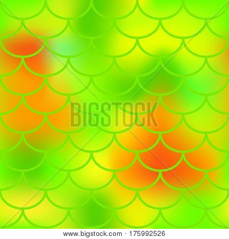 Fresh green fish skin vector pattern for background. Bright fish scale seamless pattern. Gradient mesh background with fishscale ornament. Neon yellow red green color mix. Golden fish tail ornament