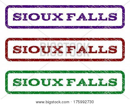 Sioux Falls watermark stamp. Text tag inside rounded rectangle frame with grunge design style. Vector variants are indigo blue, red, green ink colors. Rubber seal stamp with unclean texture.