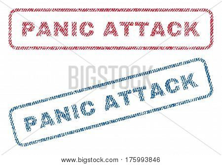 Panic Attack text textile seal stamp watermarks. Blue, red fabric vectorized texture. Vector caption inside rounded rectangular banner. Rubber sticker with fiber textile structure.