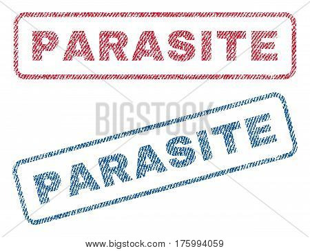 Parasite text textile seal stamp watermarks. Blue, red fabric vectorized texture. Vector tag inside rounded rectangular banner. Rubber sign with fiber textile structure.