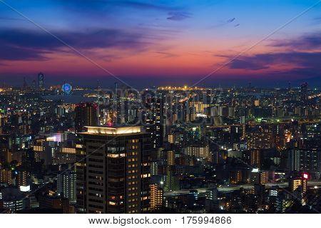 Osaka City view grom UMEDA sky building in twilight