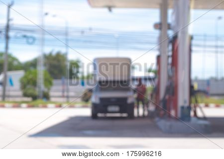 Blurred background of gas stationout of focus gas stationGas Station And Convenience Store