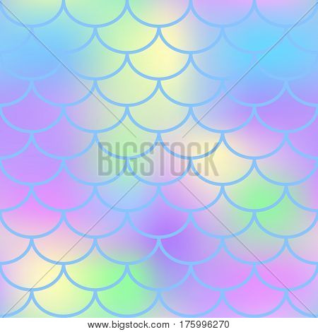 Colorful fish scale vector seamless pattern. Magic Mermaid texture or background square swatch. Marshmallow colors gradient mesh. Mermaid pattern or decor element. Fish skin Mermaid tail decor element