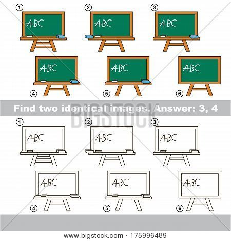Educational kid matching game to find design difference, the task is to find similar objects, the educational game for kids with easy game level, to compare items and find two same Green Board